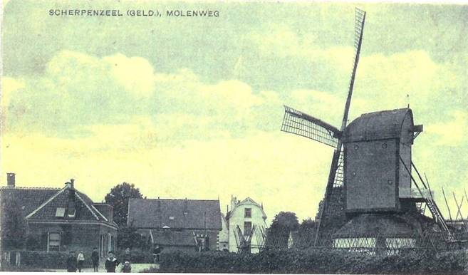 Links molenaarswoning, midden De Witte Holevoet, rechts de standerdmolen
