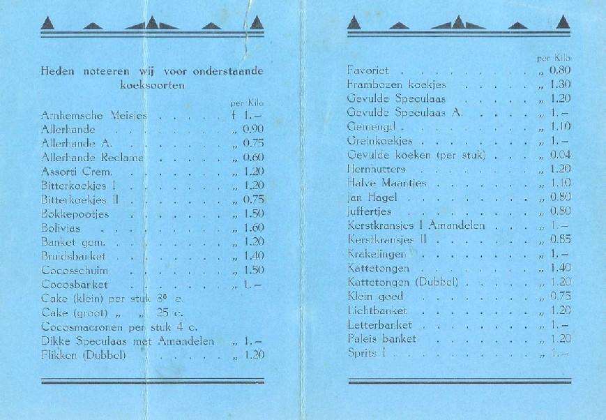 Gedeelte van de prijslijst uit 1930