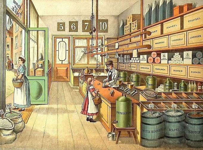 Interieur traditionele kruidenierswinkel