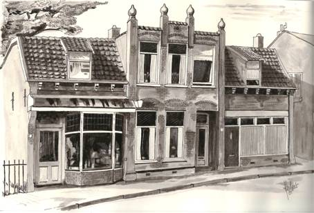 Pand dat in 1972 is gesloopt. Uitmonding Vijverlaan op Dorpsstraat.